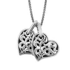 Designer Charles Krypell Two Hearts Sterling Silver 14mm Pendant with Chain