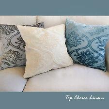 45 x 45cm Grey/Cream/Aqua Velvet Damask Cushion Cover