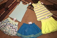 Justice Girls' Size 5 skirts, Tank Tops, Blue, Yellow, Green, Stripes, Lot of 5