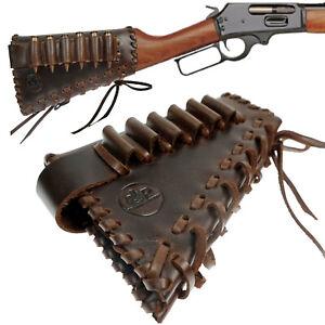 Leather Gun ButtStock Rifle Rest Cheek Pad 30-06, 308, .45-70 Cartridge Holder