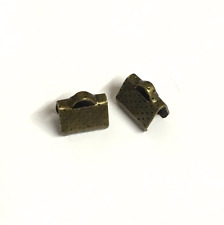 20 x 8mm antique bronze Metal Ribbon Clamps End Crimps Loop Jewellery Findings