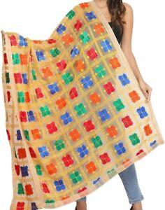 Dupatta Chiffon Scarf Phulkari Chunni Punjabi Hand Embroidery Stole Hijab Women