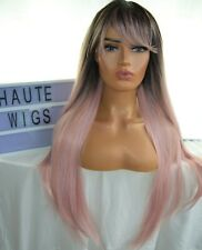 LONG OMBRE LIGHT PINK ROSE GOLD WOMENS Wig HAIR BANGS FRINGE STRAIGHT HUMAN HAIR
