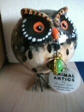"ANIMAL ANTICS OWL w/ MOUSE IN MOUTH BOBBLE BODY 5"" Tall by RANGER GIFTS NWT"