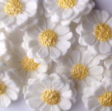 12 YELLOW CENTER DAISIES edible sugar flowers cake decorations toppers wedding