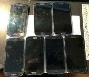 [BROKEN] Lot of 7 Samsung Galaxy S3 ATT Phone All Power READ Blank Screens!!