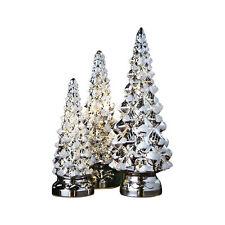 Twinkling Trees - LED Lighted Mercury Glass - Set of Three - Holiday Decor