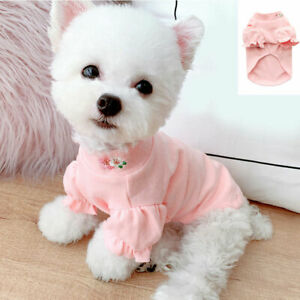 Small Dog Pet Warm Clothes Pink Embroidery Flower Shirt Cat Puppy Chihuahua Coat