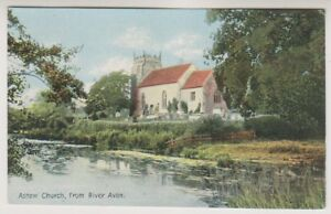 Warwickshire postcard - Ashow Church, from River Avon (A213)