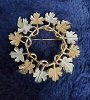 Vtg Sarah Coventry Brooch Silver gold Tone textured LEAVES Design  Costume COV