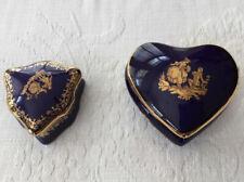 2 00006000 Cobalt Blue Limoges France Gold Decorated Porcelain Trinket Jewelry Boxes