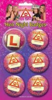 HEN PARTY NIGHT BADGES pack of 5  + 1 L plate for bride to be