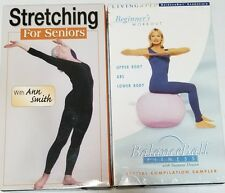 Two (2) Workout Exercise VHS Tapes~Stretching for Seniors & Balance Ball Fitness