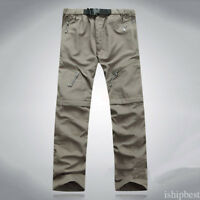 Mens Quick Dry Zip Off Convertible Pants Shorts Outdoor Hiking Trousers BH76