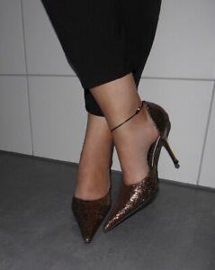 High Heels Spitz Glitzer,Stiletto Pumps getragen, well worn, Sammler Liebhaber