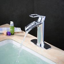 Waterfall Chrome Bathroom Sink Faucet Single Handle One Deck Vanity Sink Faucet