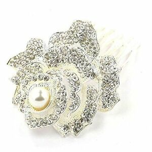 Desire Accessories Vintage Silver & Ivory Pearl Rose Bridal Hair Comb(DA00051)