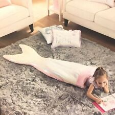 Cynthia Rowley Sequins Mermaid Tail Snuggle Wrap Blanket Sleeping Bag Pink NEW
