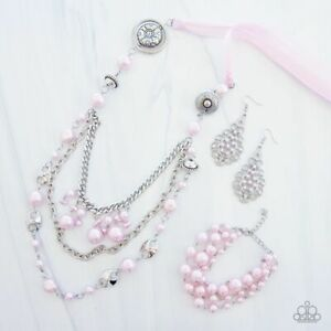 NWT! Paparazzi All The Trimmings Pink Necklace, Earring & Bracelet 3 Piece Set