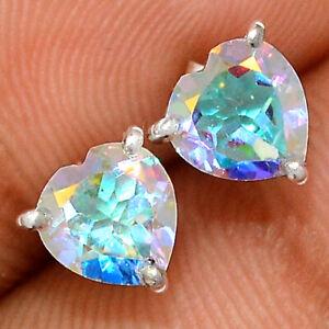 Heart - Mercury Mystic Topaz 925 Sterling Silver Earring - Stud Jewelry BE61442