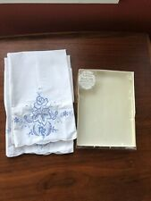 Vintage Cotton Pillowcases Pair Scalloped Embroidered Blue Victoriana
