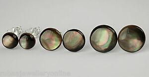6mm 8mm 10mm ROUND BLACK MOTHER OF PEARL MOP 925 STERLING SILVER STUD EARRINGS