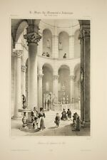 Baptistère de PISE , intérieur, architecture romane, Italie, Toscane, litho 19°