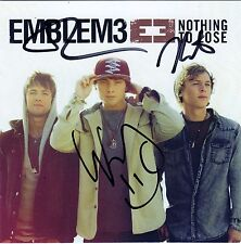 Emblem 3 Signed CD Cover w/COA Nothing To Lose E3 Chloe One Day