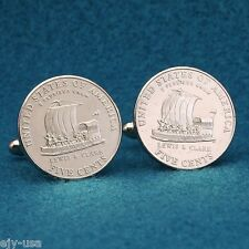 2004 Lewis & Clark Keel Boat Nickel Coin Cufflinks, USA American Coin