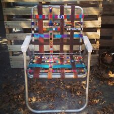 handcrafted upcycled VINTAGE aluminum LAWNCHAIR rewebbed w/GUATEMALAN BELTS ooak
