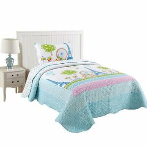 2pcs Kids Quilt Bedspread Comforter Set Throw Blanket for Boys Girls quilt, A25