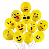 10 x 12inch Yellow Latex Emoji Balloons Smiley Face, Star-Struck, Winking Face