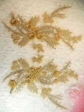 "Embroidered 3D Dance Appliques Gold Metallic Floral Mirror Pair 13"" (DH76)"