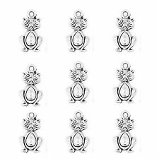 10 Tibetan Silver Cat Pendant Charms 20mm