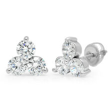 2.80CT Round Cut Channel Set Solitaire 3-Stone Stud Earrings 14K White Gold