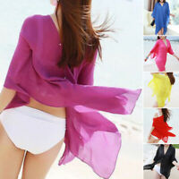 Women Summer Solid Bikini Cover Up Swimwear Bathing Suit Beach Dress Sundress