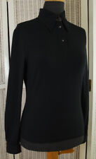 FENDI JEANS Vintage Black Knit Top EU36 S Striped Spell Out Trim Shirt (Swinger)