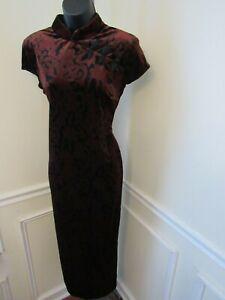 Women's Mosaic Black Burgundy Floral Velvet Chinese Maxi Side Split Dress Size 8