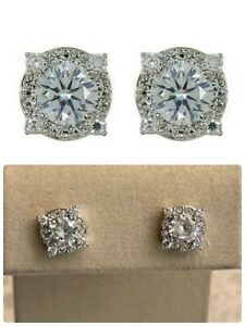 Nadri Round CZ Stud Earrings, Silvertone, NWT $48