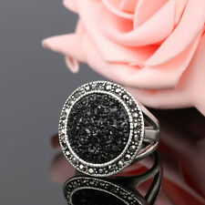 Silver Plated Black Crystal Rhinestone Full Drill Ring Jewelry Finger Ring