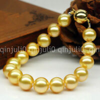 "10MM Natural Yellow Akoya Cultured Shell Pearl Round Beaded Bracelet 7.5"" J3208"