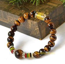 Tibetan Buddha Buddhist Mantra Prayer 8mm Natural Tiger Eye Stone Beads Bracelet