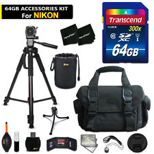 64GB ACCESSORIES Kit for Nikon D3200 w/ 64GB Memory + Large Case + MORE