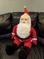 """Vintage Santa Claus plastic Face Plush Doll *RARE* like Rushton 39"""""""