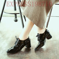Women Patent Leather Cuban Heel Shoes British Square-Toe Lace-up England Oxfords