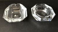Heavy Cut Glass Crystal Geometric Ashtrays Mid Century Modern Japan Vintage MCM