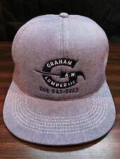 Vintage A.W. Graham Lumber Insulated Blue Denim Snapback Hat Trucker Cap USA VGC
