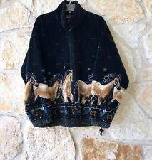 Vtg Rare Mazmania Women's Horse Mustang Fleece Jacket  Blue & Tan Sz Medium USA