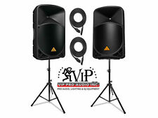 "2x Behringer B112D 12"" 2-Way Powered Speaker 1000W + (2) Speaker Stands & Cables"