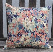 "NEW 14"" reversible zipped cotton cushion Liberty 'Clandon' navy floral"
